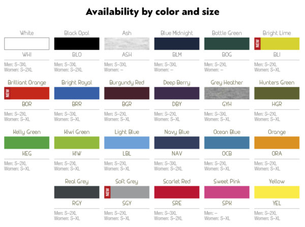 Availability by color and size