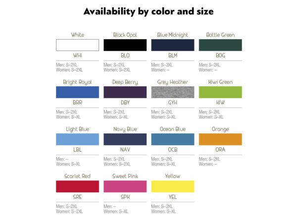 Availability by color and size v-neck