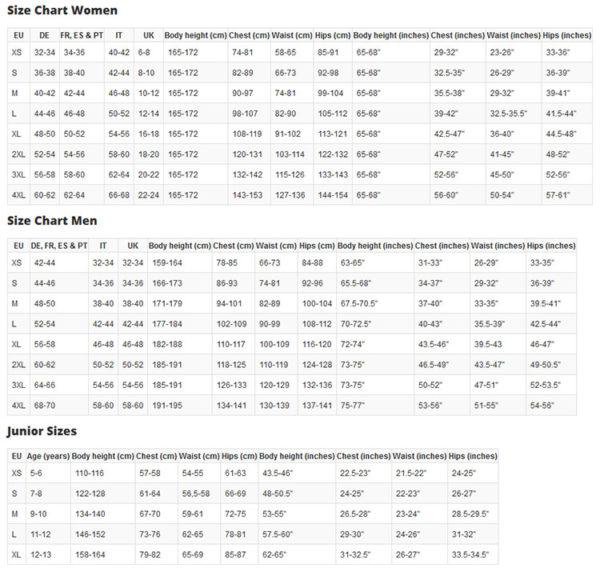 Steadman Size Chart
